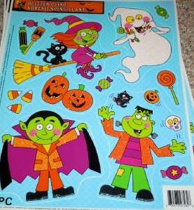11pc Halloween Window Cling~GLITTERY WITCH GHOST CANDY~ NEW