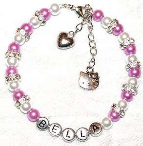 Girls Personalised Hello Kitty Charm Friendship Bracelet Flower Girl