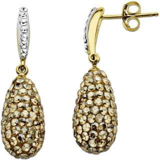 Plated Drop Earrings with Gold and White Swarovski Elements Earrings