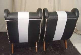 pair italian arm chairs circa 1970 s black white vinyl club chairs
