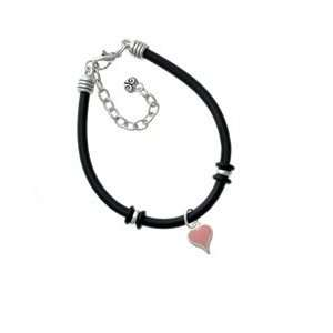 Small Long Pink Heart Black Charm Bracelet Arts, Crafts