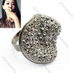 Unique Mushrooms Full Rhinestone Korean Fashion Cute Ring Rings