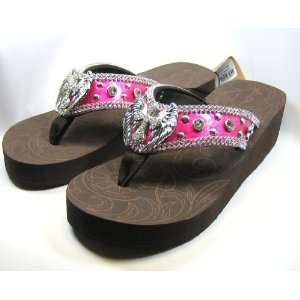 Rockabilly Cross with Angel Wings Crystal Concho Hot Pink Wedge Flips