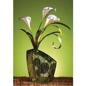 Cala Lilies Figurine Table Top Fan [Set of 2]