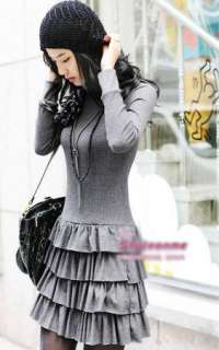 New Womens High Neck Pleated Mini Dress Layers D118