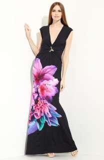 Roberto Cavalli Floral Print Jersey Gown