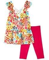 BCX Kids Set, Little Girls Floral Ruffle Sleeve Tunic and Leggings