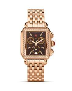 Michele Deco Day Diamond Rose Gold, Brown Diamond Dial Watch