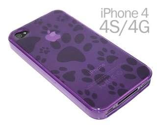 iPhone 4 4G 4S Soft Gel Cute Dog Paw Foot Prints TPU Case Cover