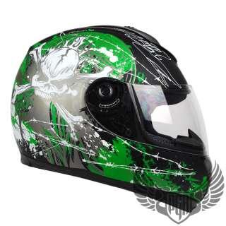 Matte Black Green Skull PEAK Full Face Motorcycle DOT APPROVED Helmet