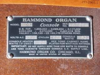 1957 Hammond C3 Organ with Tone Cabinet SOCAL OC