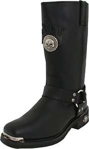 Mens Boot Genuine Harley Davidson DELINQUENT Black Leather High Cut