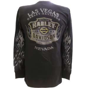 Harley Davidson Las Vegas Dealer Long Sleeve Tee T Shirt BLACK MEDIUM