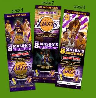 LA LAKERS BIRTHDAY PARTY INVITATION TICKET CUSTOM CARD LOS ANGELES