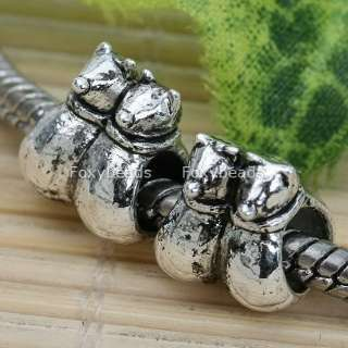 5P Tibetan Silver Cats Large Hole Spacer Bead Fit Charm
