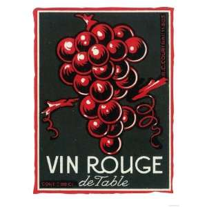 Vin Rouge De Table Wine Label   ope Premium Poster