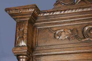 Victorian Period Antique Oak Carved Hunt Cupboard Cabinet Hunting