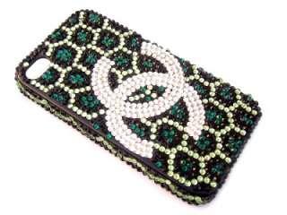 Leopard Print Designer Style Green Swarovski Crystal Case Cover For