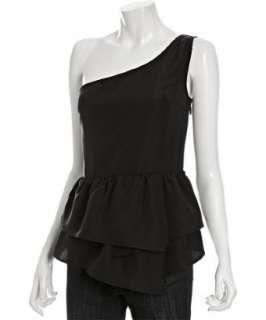 Geren Ford black silk one shoulder tiered ruffle hem blouse