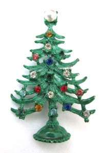 Christmas Tree Pin w/ Rhinestone Ornaments & Pearl Tree Top