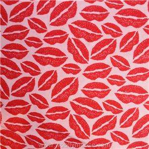KISS ME Red Lips on Pink Valentines Day LOVE Flannel Fabric 1/2 Yard