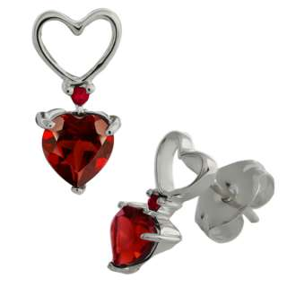 68 Ct Genuine Heart Shape Red Garnet Gemstone Sterling Silver Earrings
