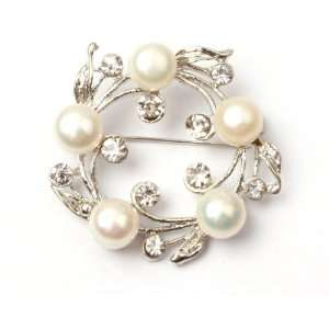 white freshwater pearl white gold plated brooch pin 40mm