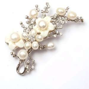 white pearl white gold plated peachblossom flower brooch pin