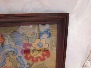 Antique CASTLE Needlepoint Petit Point Hand Made Wall Hanging Tapestry