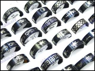 wholesale jewelry lot 15pcs Top Stainless Steel Black Fashion rings