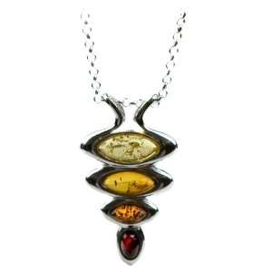 Sterling Silver Multi color Amber Slider Pendant, 18 Jewelry
