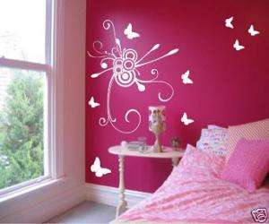 Butterfly Swirl Wall Art Vinyl Decal Decor