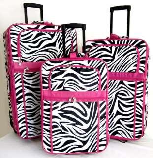 Luggage Set Travel Bag Rolling Case Wheel Upright Pink Zebra